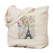 floral paris eiffel tower roses Tote Bag