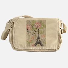 floral paris eiffel tower roses Messenger Bag
