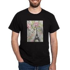 floral paris eiffel tower roses T-Shirt