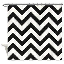 True Black and White Chevron Shower Curtain