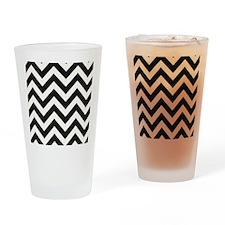 True Black and White Chevron Drinking Glass