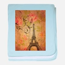 floral paris eiffel tower butterfly baby blanket