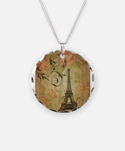 floral paris eiffel tower butterfly Necklace