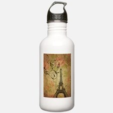 floral paris eiffel tower butterfly Water Bottle