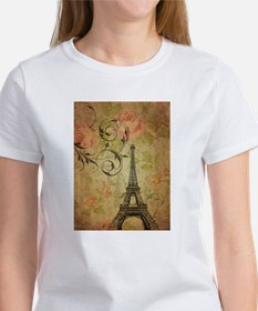floral paris eiffel tower butterfly T-Shirt