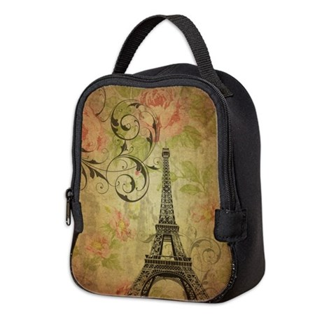 floral paris eiffel tower butterfly neoprene lunch by