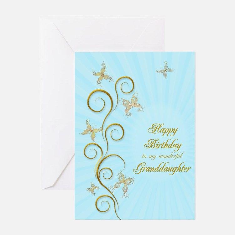 Granddaughter birthday card with golden butterflie