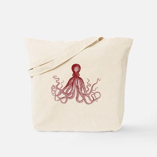 Burgundy Octopus Tote Bag