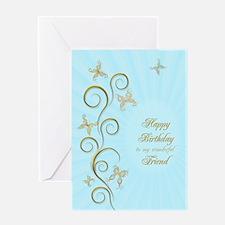 Friend birthday card with golden butterflies Greet