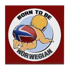 """Born to be Norwegian"" Tile Coaster"