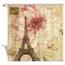 floral paris eiffel tower butterfly Shower Curtain