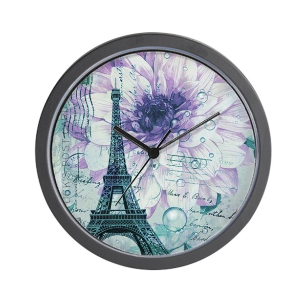 floral paris eiffel tower butterfly Wall Clock by ...