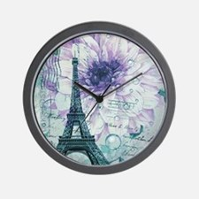 floral paris eiffel tower butterfly Wall Clock
