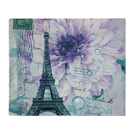 floral paris eiffel tower butterfly Throw Blanket