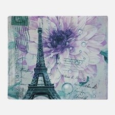 floral paris eiffel tower butterfly Throw Blanket
