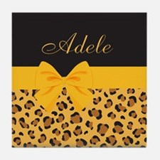 Yellow Bow Animal Print Pattern Tile Coaster