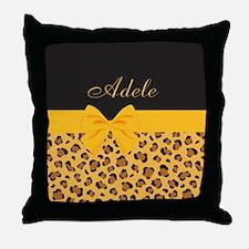 Yellow Bow Animal Print Pattern Throw Pillow