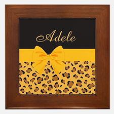 Yellow Bow Animal Print Pattern Framed Tile