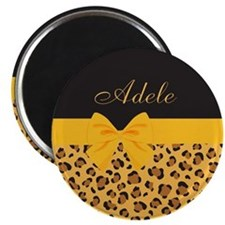 Yellow Bow Animal Print Pattern Magnet