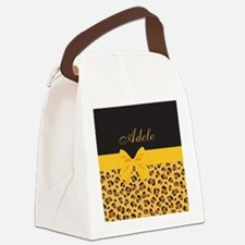 Yellow Bow Animal Print Pattern Canvas Lunch Bag