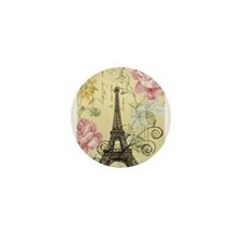 floral paris eiffel tower Mini Button (10 pack)
