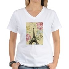 floral paris eiffel tower T-Shirt