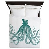 Octopus teal Duvet Covers