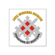 DUI-18th Engineer Brigade with text Square Sticker
