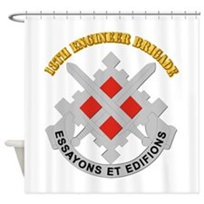 DUI-18th Engineer Brigade with text Shower Curtain