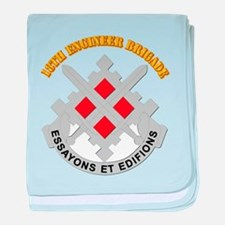 DUI-18th Engineer Brigade with text baby blanket
