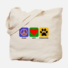 Peace Love Weimaraner Tote Bag