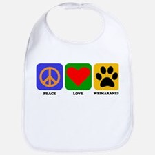 Peace Love Weimaraner Bib