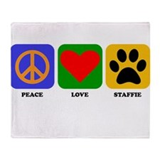Peace Love Staffie Throw Blanket