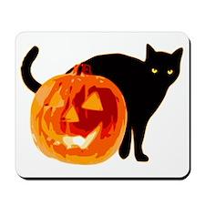 Cat and Jack-O-Lantern Mousepad