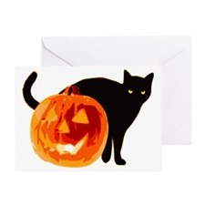 Cat and Jack-O-Lantern Greeting Card