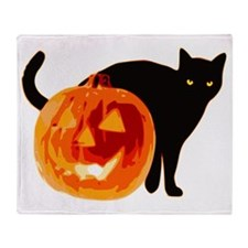 Cat and Jack-O-Lantern Throw Blanket