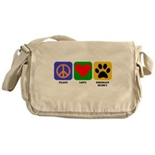Peace Love Siberian Husky Messenger Bag