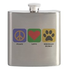 Peace Love Siberian Husky Flask