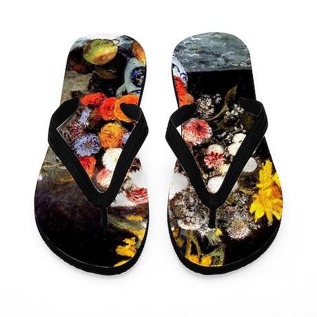 Renoir - Mixed Flowers in an Earthenwar Flip Flops