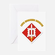SSI-18th Engineer Brigade with text Greeting Cards