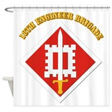 SSI-18th Engineer Brigade with text Shower Curtain