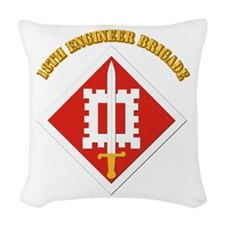 SSI-18th Engineer Brigade with text Woven Throw Pi