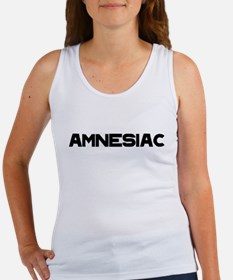 Amnesiac black text Tank Top