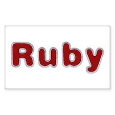 Ruby Santa Fur Rectangle Decal