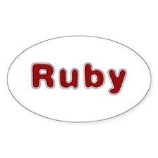 Ruby Santa Fur Oval Decal