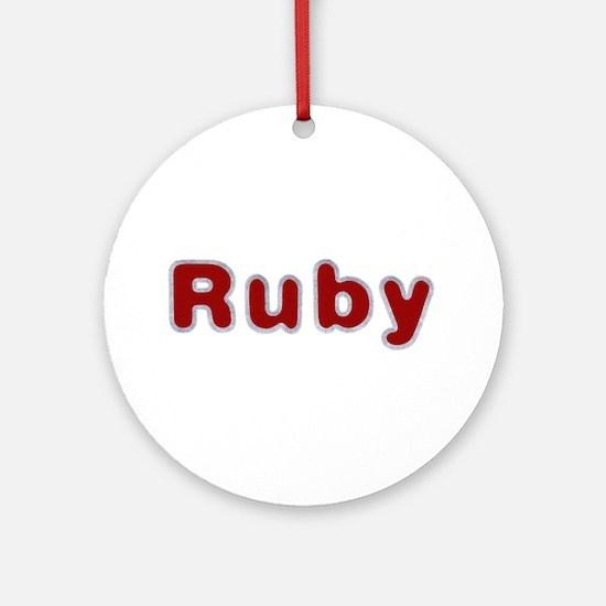 Ruby Santa Fur Round Ornament