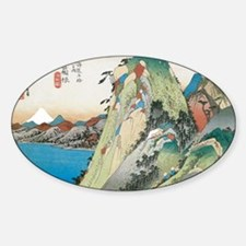 Lake at Hakone by Hiroshige Sticker (Oval)