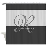 Chevron black and grey initial Shower Curtains