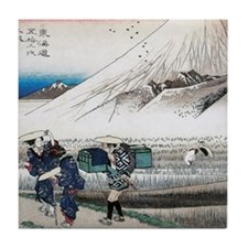 Mount Fuji in the Morning by Hiroshig Tile Coaster