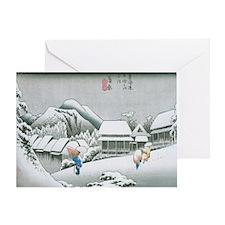 Night Snow at Kambara by Hiroshige Greeting Card